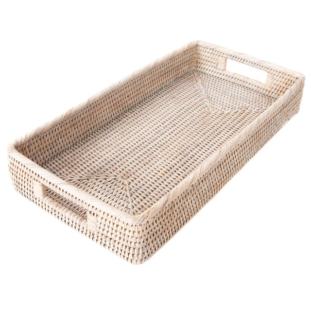 Boho Chic Artifacts Rattan Rectangular Tray with Rounded Corners For Sale - Image 3 of 5