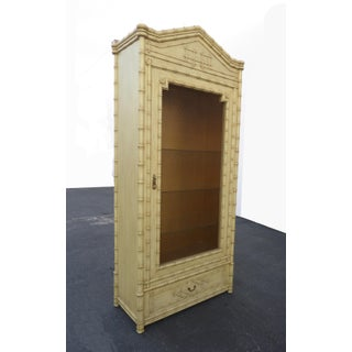 1970s Hollywood Regency Chinoiserie Beige & Gold French Linen Press Cabinet Oriental Asian Influence Preview