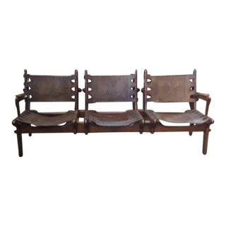 Vintage 3 Seat Wood and Leather Bench