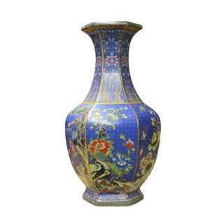 Chinese Bright Blue Hexagon Multi-Color Flower Birds Porcelain Vase