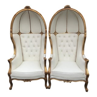 French Throne Balloon Chairs in White Leather - a Pair For Sale