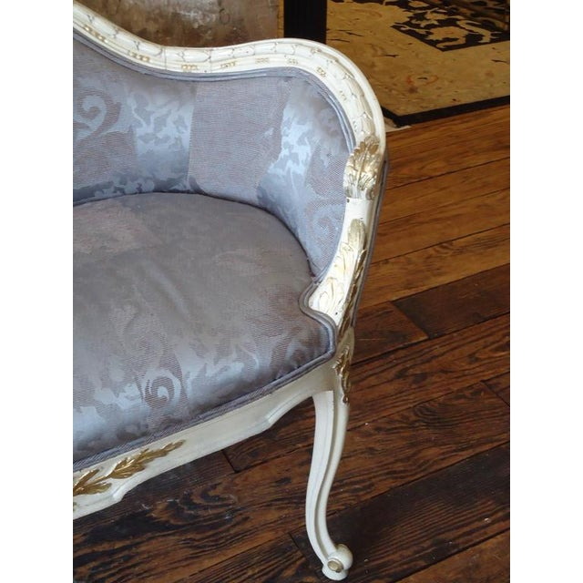 Antique French Small Settee Loveseat For Sale - Image 5 of 7