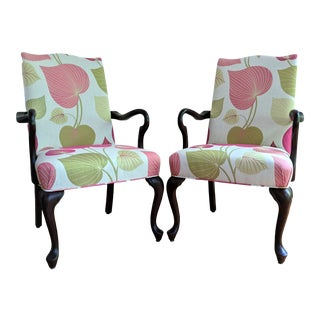 Queen Anne Pink Chair Pair For Sale
