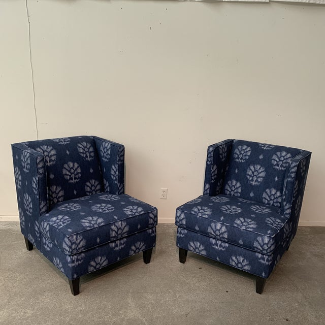 Blue Blue and White Contemporary Wing Chairs For Sale - Image 8 of 8