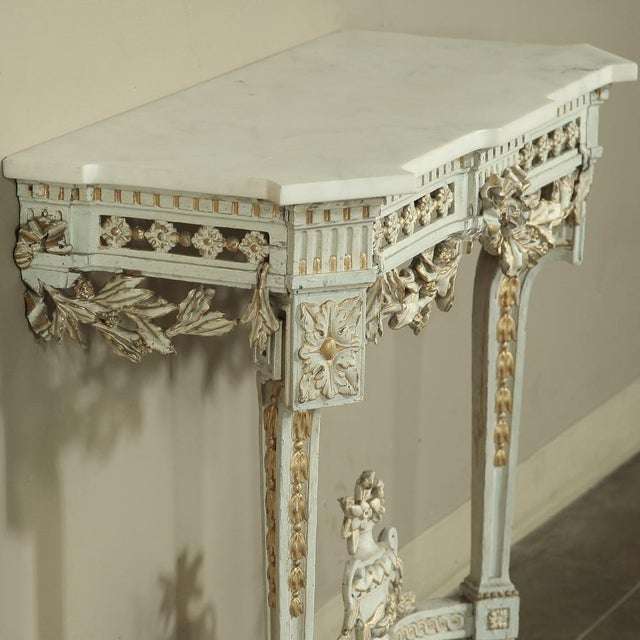 Carrara Marble 19th Century Swedish Neoclassical Marble-Top Painted Console For Sale - Image 7 of 12
