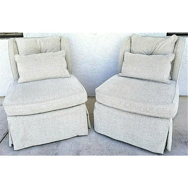 Henredon Upholstery Collection Swivel Winged Slipper Lounge Chairs - Set of 2 For Sale - Image 12 of 12