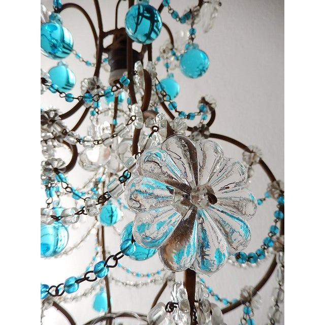1920s French Blue & Clear Murano Drops Crystal Giltwood Chandelier For Sale - Image 9 of 13