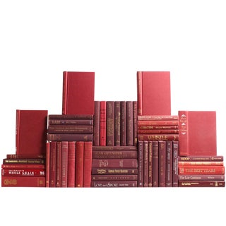 Modern Bordeaux Book Wall : Set of Fifty Decorative Books