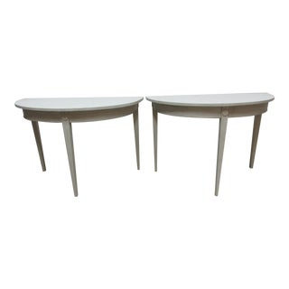 Swedish Gustavian Demi-Lune Tables - a Pair For Sale