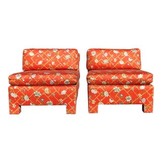 1960s Vintage Custom Upholstery Scroll Back Chinoiserie Slipper Chairs- A Pair For Sale