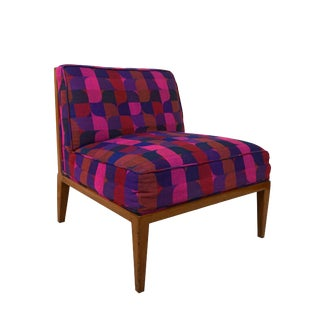 1960s Vintage Widdicomb Cane Back Slipper Chair With Jack Larsen Upholstery For Sale