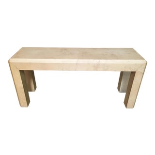 Modern Goatskin Wrapped Console Table For Sale