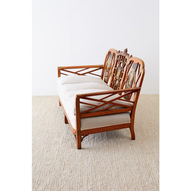 Mid 20th Century English Chinoiserie Chippendale Style Pagoda Top Settee For Sale - Image 5 of 13
