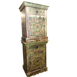 Antique Mediterranean Floral Handcarved Wood End Tables - a Pair For Sale