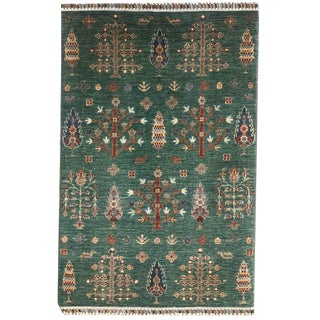 Transitional Tribal Directional Tree of Life Knotted 'Chobi' Style Green Multicolored Rug - 3′3″ × 5′1″ For Sale