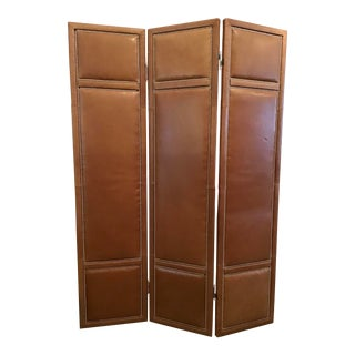 Custom Leather 3 Panel Large Folding Screen With Chrome Nailheads For Sale