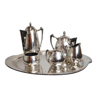 Mid Century 1950s 6 Piece Mexican Sterling Silver Avalos Mexico City Tea Set Approx 140Toz For Sale
