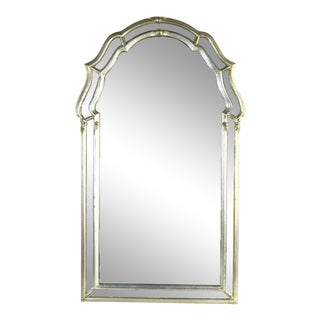 Vintage LaBarge Antiqued Silver Gilt Double Border Wall Mirror For Sale