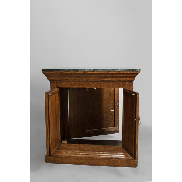 Gothic Turn of the Century English Gothic Revival Marble and Oak Commode For Sale - Image 3 of 5