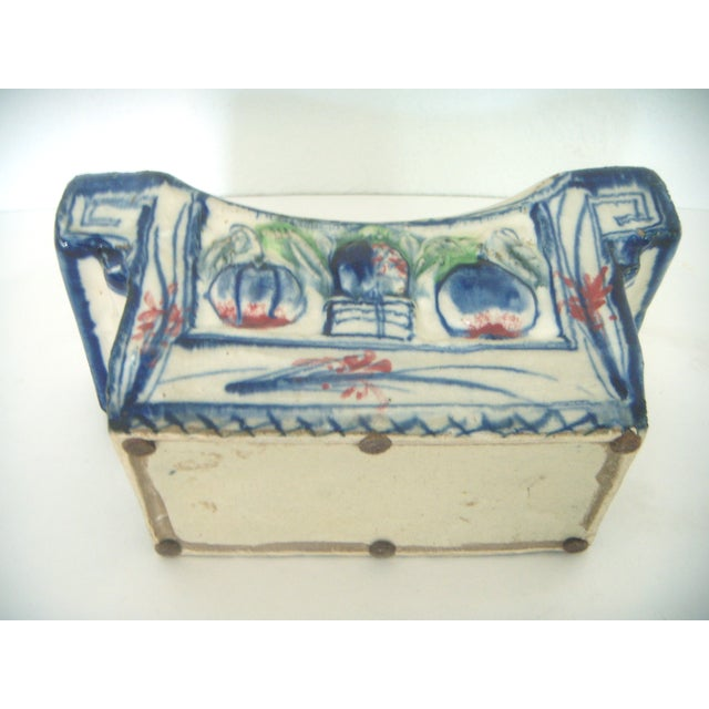 Vintage Chinese Porcelain Head Rest/Opium Pillow, Blue and White For Sale In Tampa - Image 6 of 7