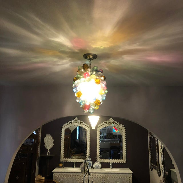 Stained Hand-Blown Glass Colorful Light Fixture For Sale In Los Angeles - Image 6 of 12