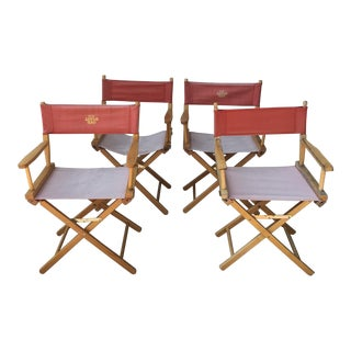 Campaign Style Director Oak Chairs- Set of 4 For Sale
