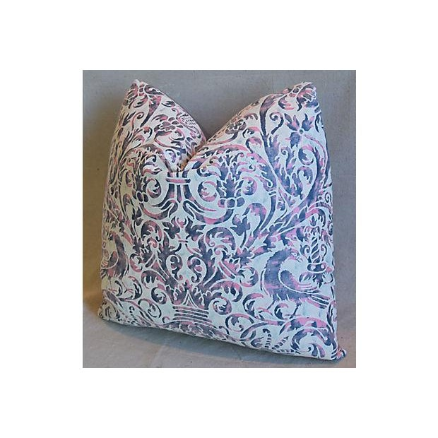 Italian Custom Tailored Italian Mariano Fortuny Uccelli Feather/Down Pillow For Sale - Image 3 of 7