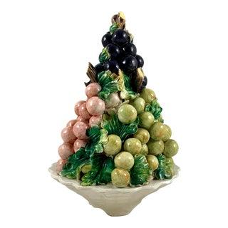 Mid-Century Italian Majolica Grape Vine Bunch Ceramic Topiary For Sale