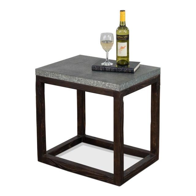 "Metal Rectangular ""Hot Chocolate"" Elm & Zinc Lamp Table For Sale - Image 7 of 8"