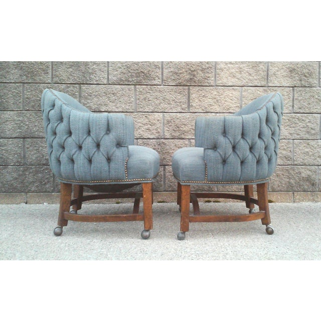 Blue Blue Tufted Club Chairs With Nail Head Trim-A Pair For Sale - Image 8 of 10