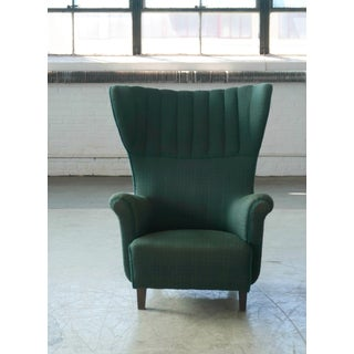 Danish 1950s Classic Flemming Lassen Style High Wing Back Lounge Chair Preview