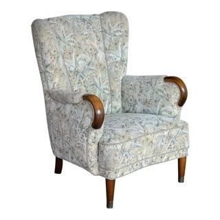 Danish Midcentury Fritz Hansen Style Highback Lounge Chair For Sale