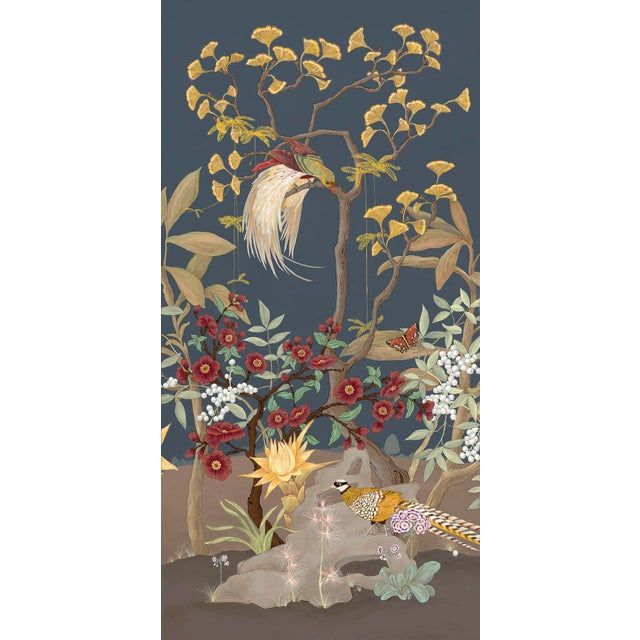 """Chinoiserie """"Pheasants and Forest"""" Triptych Chinoiserie Painting by Allison Cosmos For Sale - Image 3 of 7"""