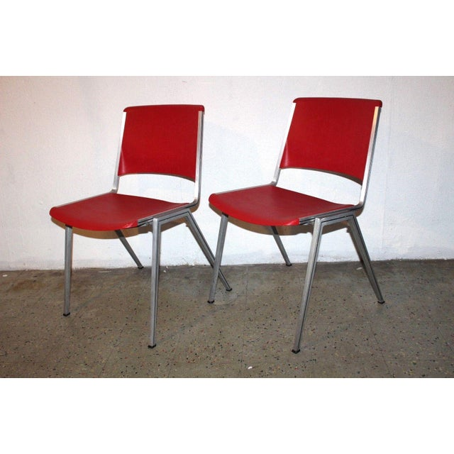 1960s 1960s Mid Century Modern Steelcase Stackable Red Plastic Chairs - a Pair For Sale - Image 5 of 5