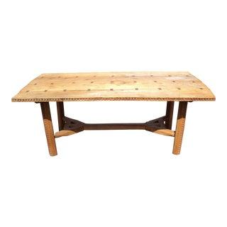 Primitive Antique Unique Hand Cut Farm Harvest Table