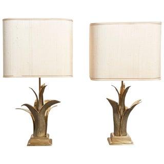 Pair of Bronze Gilt Table Lamps, Paris, 1970s For Sale
