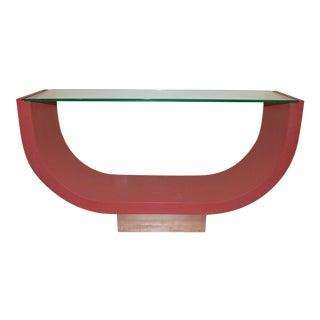 Mid 20th Century Raffia Blush Console Table For Sale