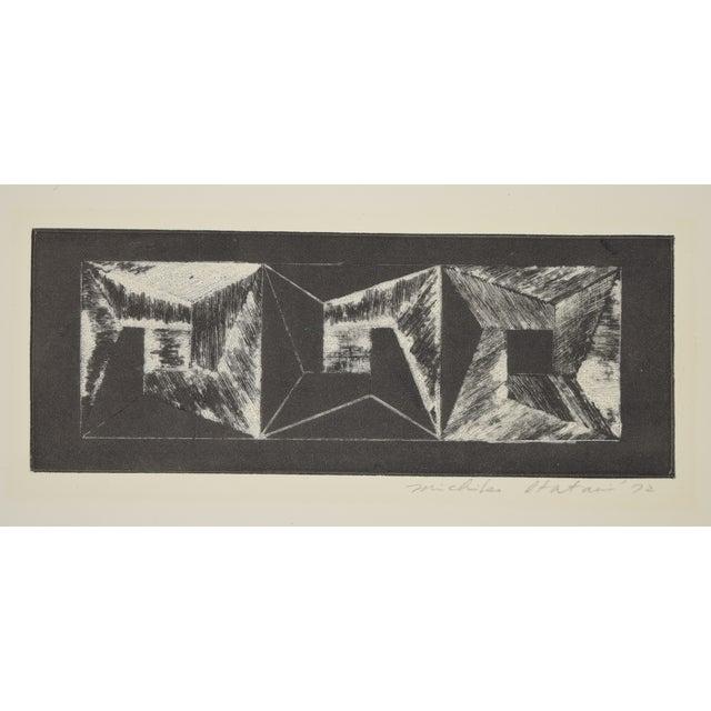 1970s 1972 Michiko Itatani Black & White Geometric Etching For Sale - Image 5 of 5