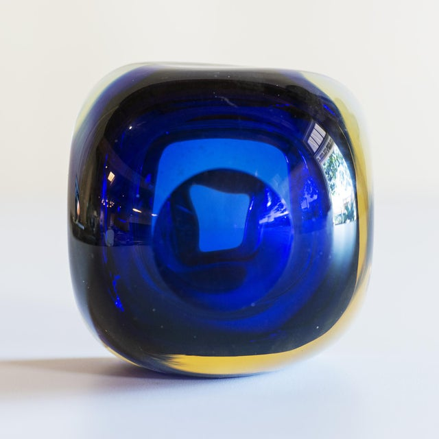Murano Murano Glass Sommerso Square Bowl in Blue and Yellow, 1960s For Sale - Image 4 of 8