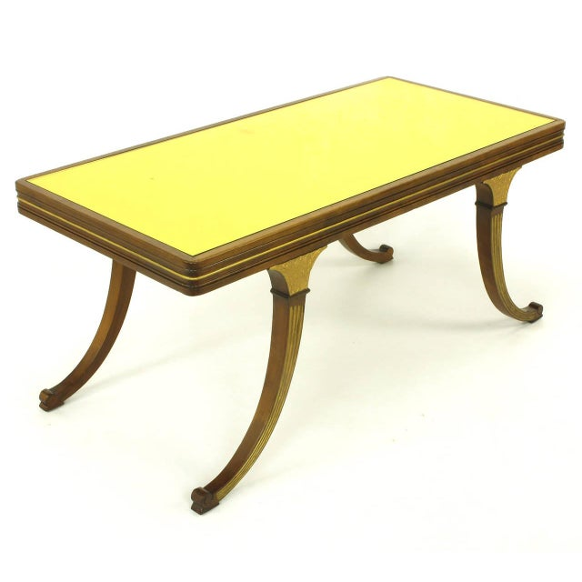 B&B Italia Early 1900s Parcel-Gilt and Walnut Empire Coffee Table With Gold Mirror Top For Sale - Image 4 of 9