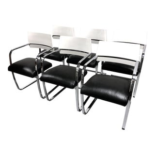Vintage Modern Chrome White Lacquered Wood Brno Style Leather Dining Chairs—Set of 6 For Sale