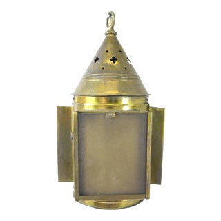 Antique Swinging Lantern Converted Electric Pendant Light For Sale