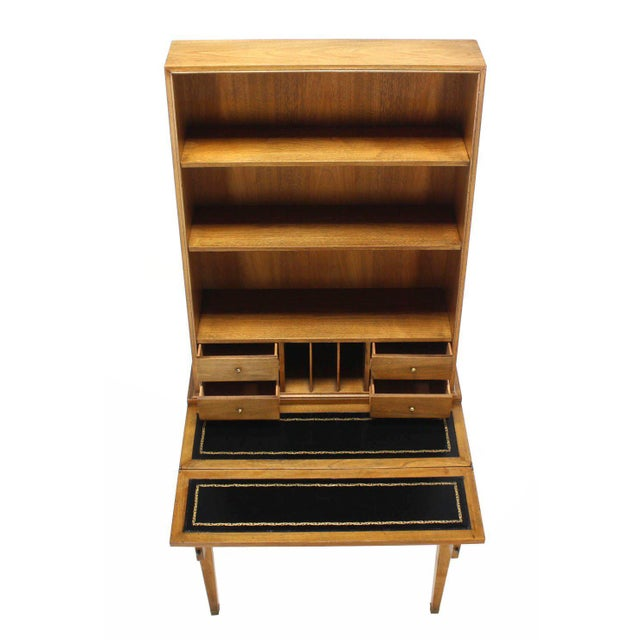 Early 20th Century Transitional Baker Modern Petite Secretary With Bookcase on Slim Legs For Sale - Image 5 of 10