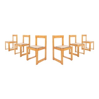 Architectural & Asymmetrical Dining Chairs in Pine & Wicker For Sale