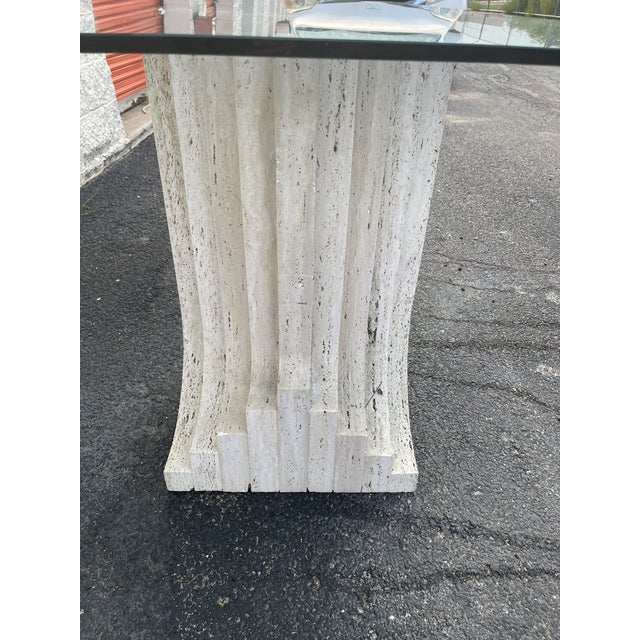 Tobia Scarpa Tobia Scarpa Style Italian Travertine and Glass Dining Table For Sale - Image 4 of 5