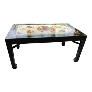 Asian Antique Chinese Writing Desk/Dining Table With Inset Panel For Sale