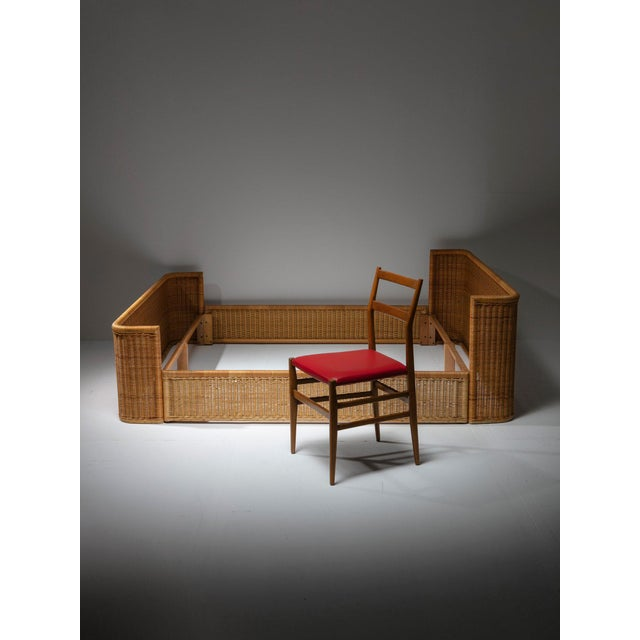 Double Bed Wicker Frame by Adalberto Dal Lago for Germa For Sale - Image 6 of 7