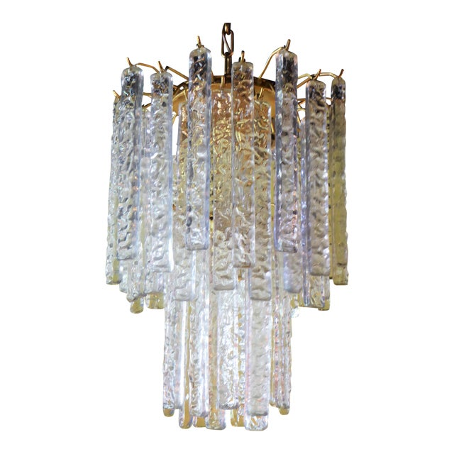 1960s Mid-Century Modern Mazzega Murano Textured Crystal Chandelier For Sale