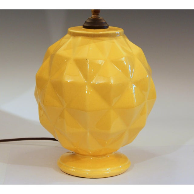 Large vintage Stangl pottery lamp in geodesic sphere form with atomic yellow glaze, circa early/mid 20th century. 3-way...