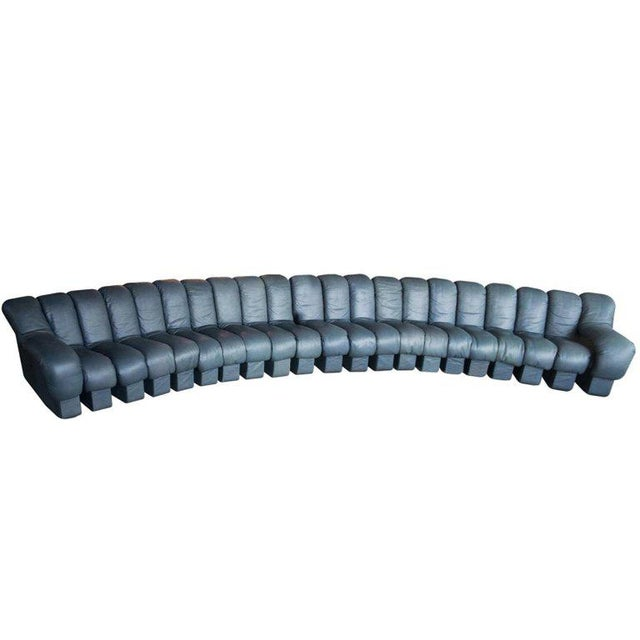 De Sede Ds-600, Non-Stop Sofa, 21 Sections in Charcoal Blue Leather For Sale - Image 13 of 13